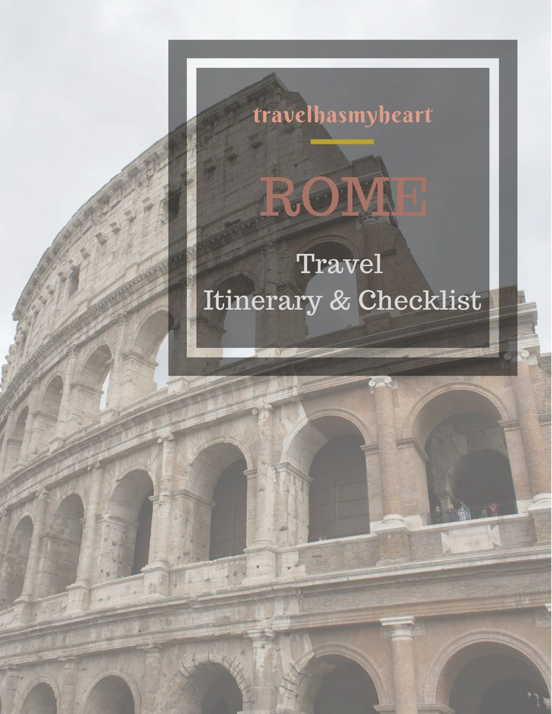21882b75cf147 ROME Travel Checklist & Travel Itinerary ~ Printable Travel Planner ~  Vacation Planning ~PDF ~ Top 10 Sites ~ 3 Day ~ Top 10 Foods