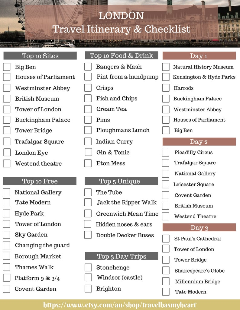 5d3304b8114f1 LONDON Travel Checklist & Travel Itinerary ~ Printable Travel Planner ~  Vacation Planning ~PDF ~ Top 10 Sites ~ 3 Day ~ Top 10 Foods