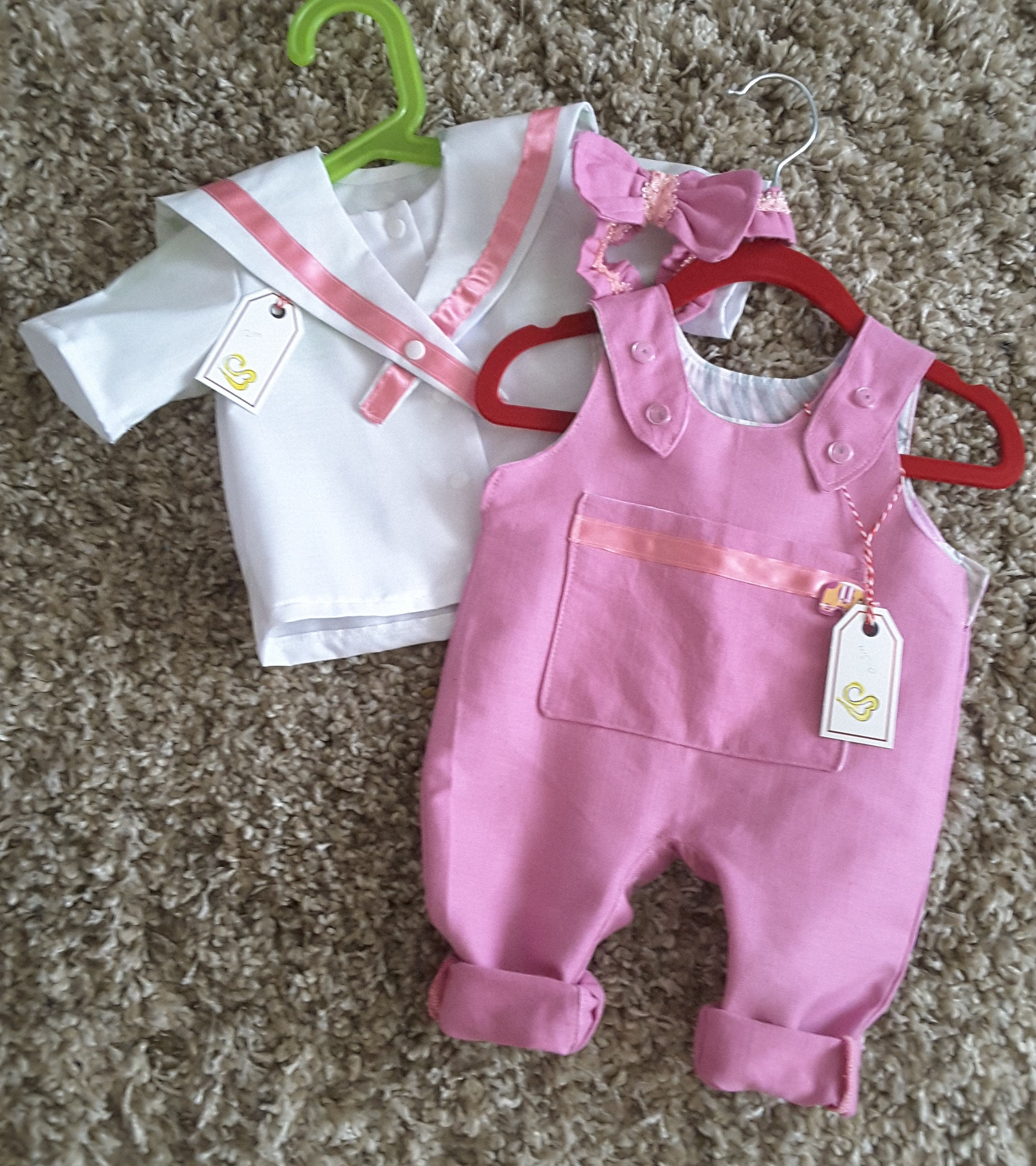441be6426fba Baby girl pink dungarees and sailor top suit with matching