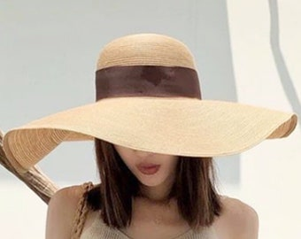 b3f7ccc9 Natural Strap Beach Straw Hat / Boho Hat/ Floppy Beach Hat/ Beach Hat/Natural  Hat/ Handmade Hat/Sun Hat