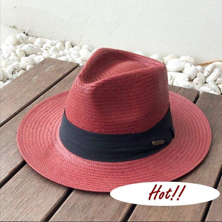 Red Classic Beach Hat   Straw Hat  Boho Hat  Floppy Beach Hat   3facfd96673