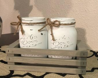 Mason Jars and Distressed Planterbox
