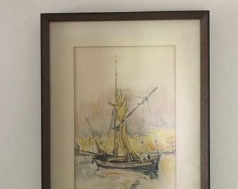 watercolor and charcoal framed drawing of boat