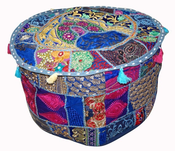 Indian Pouf Cover Patchwork Ottoman Home Decor Living Room Magnificent Indian Pouf Covers