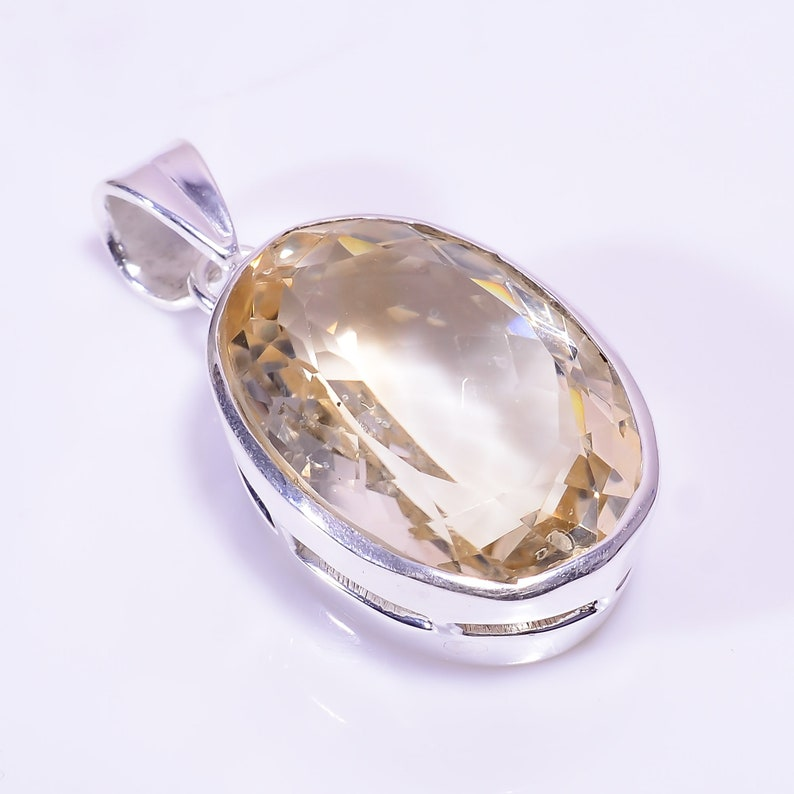 Natural Citrine Gemstone Ethnic Style 92.5 sterling  Silver Pendant 1.5