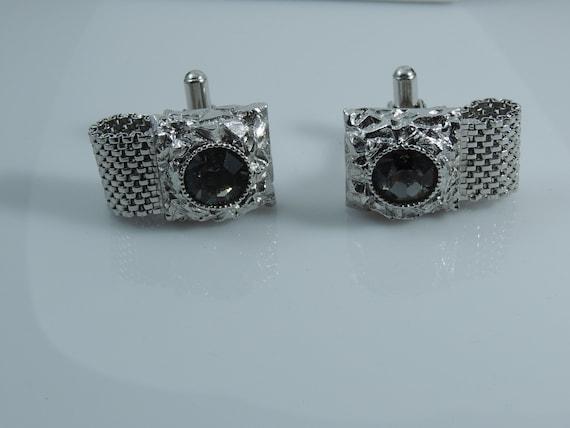 Vintage Cufflinks /& Tie Clip Swank Silver W Diamond Rhinestone Men/'s Jewelry Formal Wedding Hipster Vintage Cufflinks By Vintagelady7