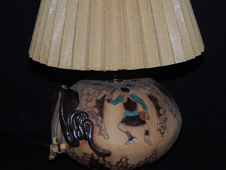 Handmade Hopi Contemporary Clay carved enamel pot Table Lamp Signed Trish 1985 Snake dance