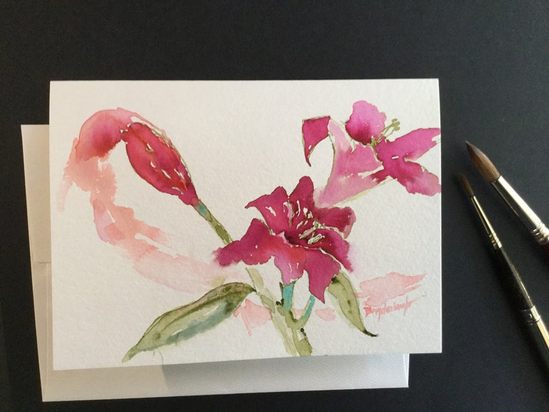 Birthday Wedding Anniversary Unique gift from Pink Tea Productions \u201cSweeping Lilies\u201d 5x7 Original Watercolor /& Hibiscus Tea Greeting Card