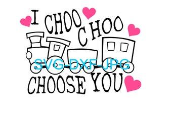 graphic about I Choo Choo Choose You Printable Card titled I choo choo just take Etsy