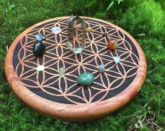 Crystal Grid, Engraved Solid Mahogany
