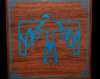 Thunderbird, Turquoise Stone Inlay on Solid Walnut handcrafted Wall Art