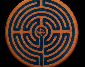 Celtic Labyrinth, Azurite and Malachite Stone Inlay on Solid Cherry Handcrafted Wood Wall Art