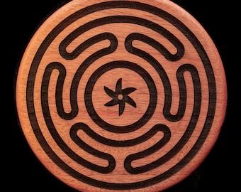 Hecates Wheel Engraved Solid Mahogany Wall Art