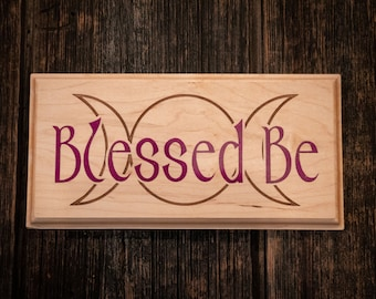 Blessed Be Triple Moon Goddess, Sugalite Stone Inlay on Solid Maple handcrafted Wall Art