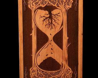 Natural Balance Hourglass, Engraved Solid Cherry Wall Art