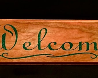 Welcome Sign, Malachite Stone Inlay on Figured Cherry Handcrafted Wood Wall Art
