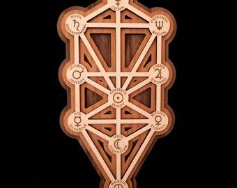Kabbalah Tree of Life 3D layered wood wall art