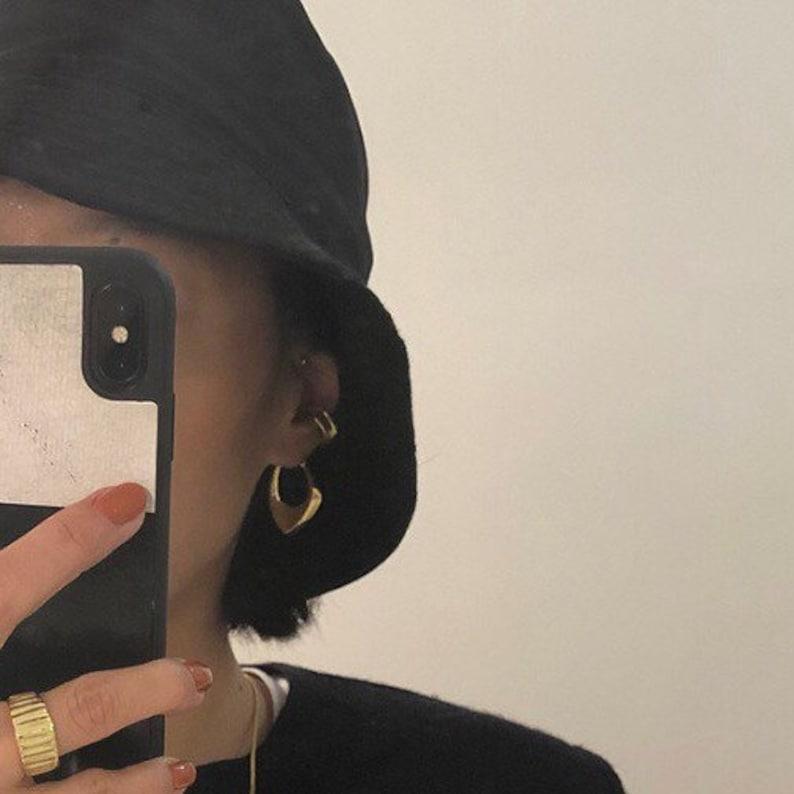 Art Deco Earrings designer hoop earrings minimalism sterling silver earring studs Scandinavian loop Earrings chunky silver earrings