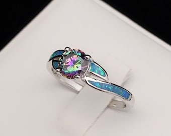 Mystic Topaz Blue Opal Sterling Silver Ring, Blue Opal Inlay Ring, Mystic Topaz Gemstone Accent, Accent Ring, October Birthstone Ring