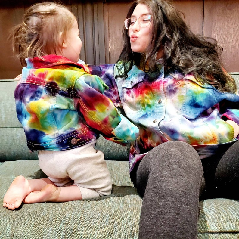 Mommy and Me matching Custom Tie Dye Denim Jackets