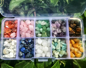 Beginners Drilled Crystal Kit,10pcs - Mixed Crystal Chip Beads for DIY Jewelry Making - (Loose Gemstone Stones with Holes,150g/5oz,5-7mm)