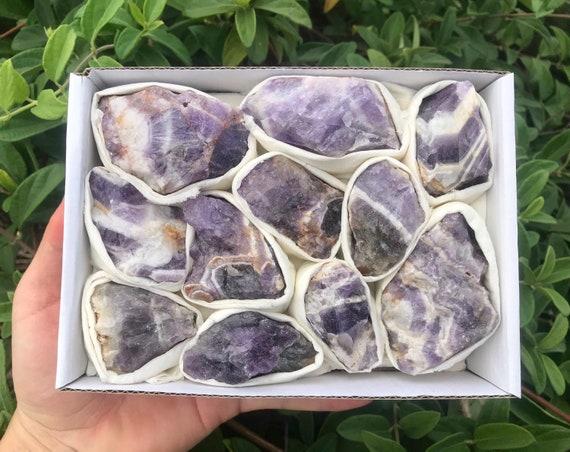 Raw Purple Amethyst Full Flat Box Cluster - 9-14 Piece Rough Mineral Chunks - (1.5lb/0.7kg)