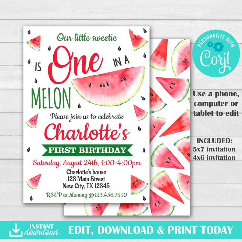 Watermelon Party Invitations