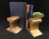 Vintage Railroad Track Rail Cross Section Railway Bookends, Painted Gold, Train Buff Railfan Gift, Office Decor