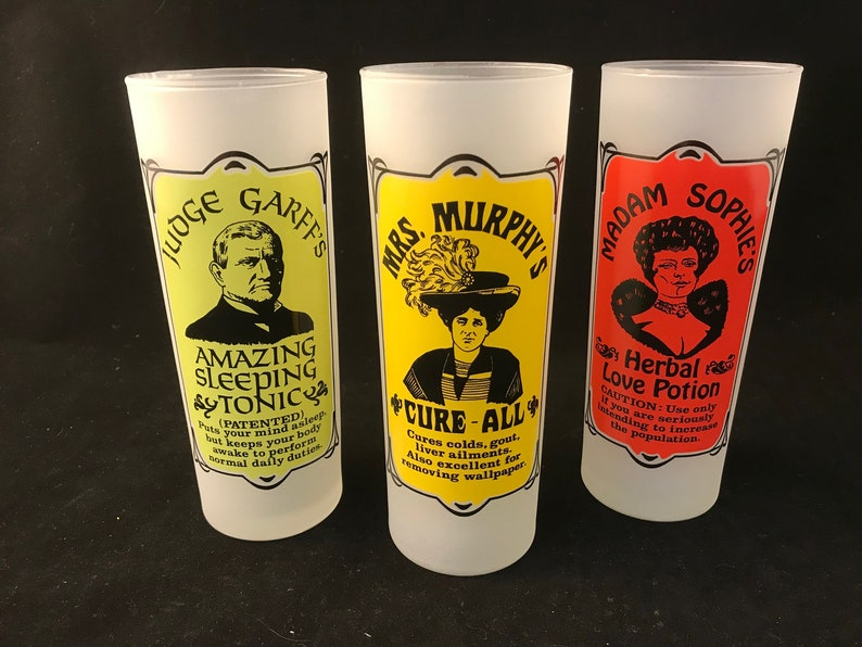 Vintage Frosted Highball Novelty Glasses - Unique Colorful Barware Set  Featuring Judge Garff, Mrs  Murphy, Madam Sophie Potions