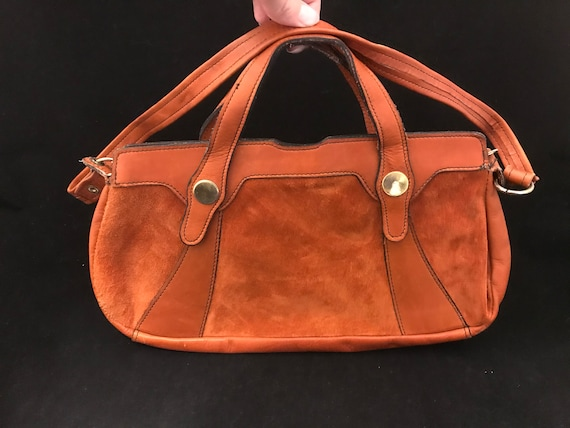 Vintage Purse, Orange Suede Mod 1960's, Go Go Leat