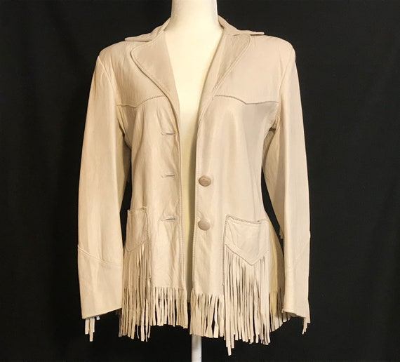 Vintage Leather Jacket with Fringe, Cream White Ki