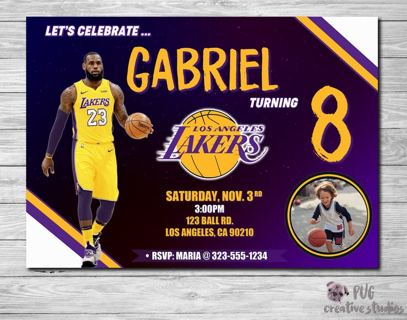 Lakers Birthday Invitation Party Basketball Invite Los Angeles NBA Lebron James Personalized