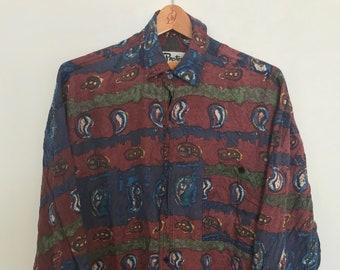 Mens silk long sleeve button up shirt size medium