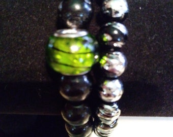 Black/Green and Silver Drizzled Bracelet Set