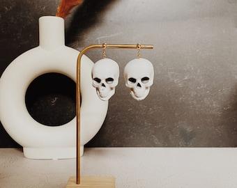 Halloween Clay Earrings • Skull Dangle