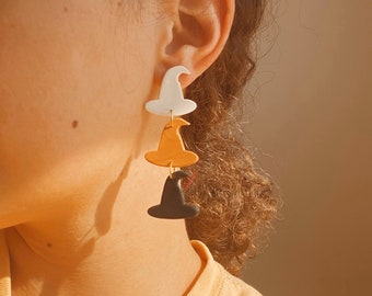 Halloween Clay Earrings • Witch Hat