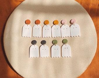 Ghost Dangle Earrings, Halloween Earrings, Cute ghost, Polymer clay, Fall Trends, Small Dangle Earrings