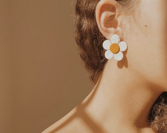 Boho Polymer Clay Earrings Daisy Flower