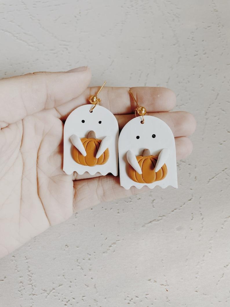 Ghost Dangle Earrings Halloween Earrings Cute ghost Pumpkin image 0
