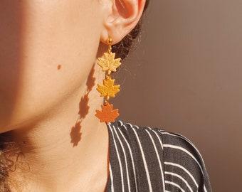 Fall Earrings • Leaf Dangle Earrings, Polymer Clay, Pumpkin Spice, Pumpkin Earrings, Cute leaves, Fall Trends, Small Dangle Earrings