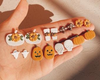 Fall Clay Studs • Halloween Earrings