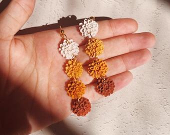 Fall Earrings • Mum Dangle Earrings, Polymer Clay, Cute Flowers, Fall Trends, Small Dangle Earrings
