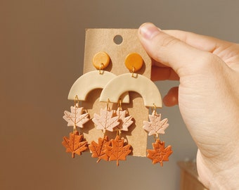 Fall Clay Earrings • Autumn Statement Arch Dangle Leaves