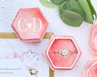 Bridal Engagement Personalized Pink Hexagon Velvet Ring Box Rose Gold and Pink Wedding Details