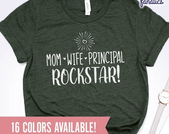 4f4866d7 Mom Wife Principal Rockstar Shirt, Principal Shirt, Principal Gift, Principal  Tshirt, Principal Christmas Gift