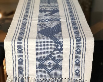 Mexican Style Table Runner, Hand Woven Mexican Table Runner, Fabric Table  Runner