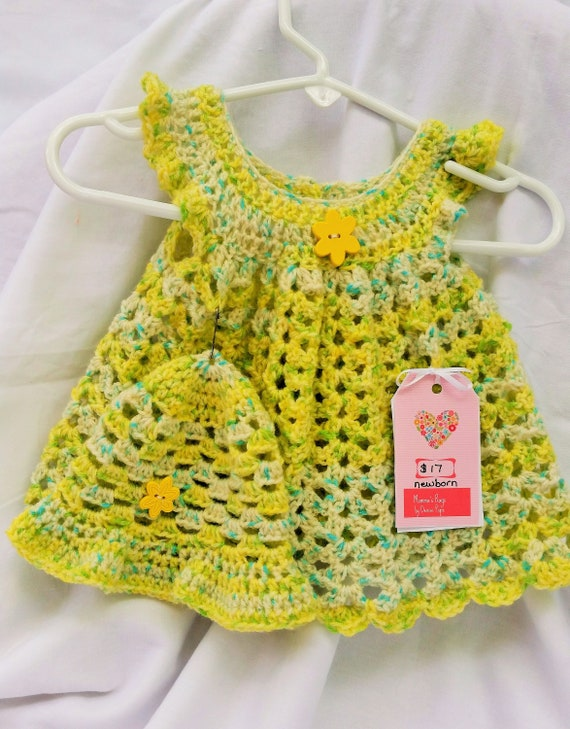 17e164c15 Crocheted Baby Pinafore Dress Set Yellow Blue Green