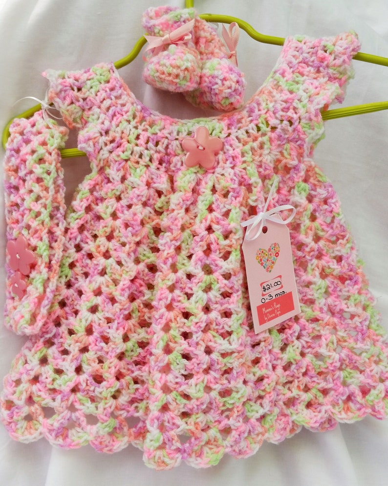 9581136cf Crocheted Baby Pinafore Dress Set Pink Purple Multi with