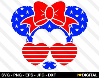 minnie mouse face svg vector disney mickey usa america flag 4th july png eps jpg dxf silhouette cute independence cricut kids boys girls