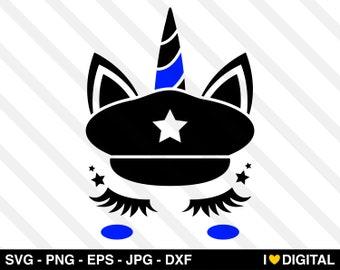 Unicorn SVG Vector - Thin Blue Line American Flag Police Officer USA Cop Blue Lives Matter Back Our Blue Badge Law Enforcement Kids Boy Girl